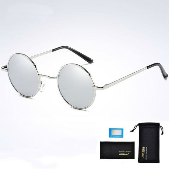 Unisex Vintage Steampunk Polarized Sunglasses Anti-Reflective - Silver and silver - Sunglasses