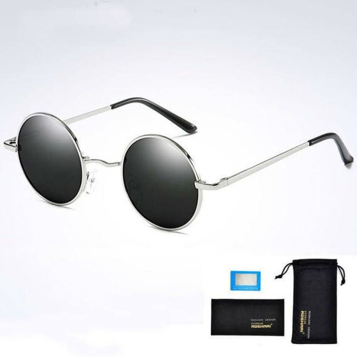 Unisex Vintage Steampunk Polarized Sunglasses Anti-Reflective - Silver and black - Sunglasses