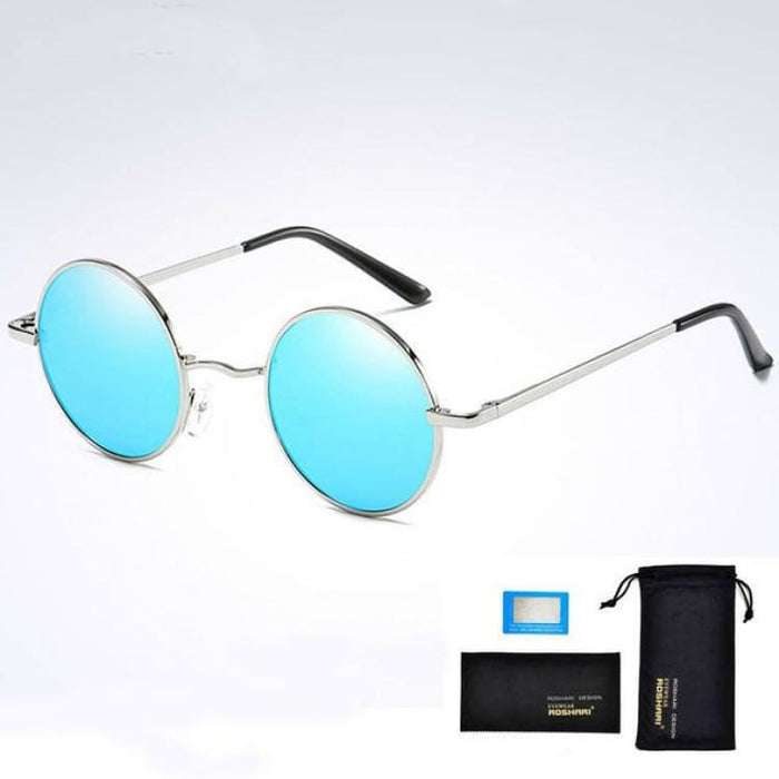 Unisex Vintage Steampunk Polarized Sunglasses Anti-Reflective - Silver and blue - Sunglasses