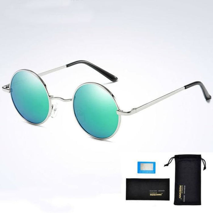 Unisex Vintage Steampunk Polarized Sunglasses Anti-Reflective - Silver and green - Sunglasses