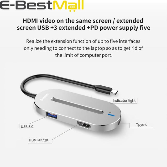 Universal HUB Type-c Converter Type C Male to HDMI USB 3.0 Type-c Female Adapter Cable For Macbook Pro Type-c Notebook - USB Hubs