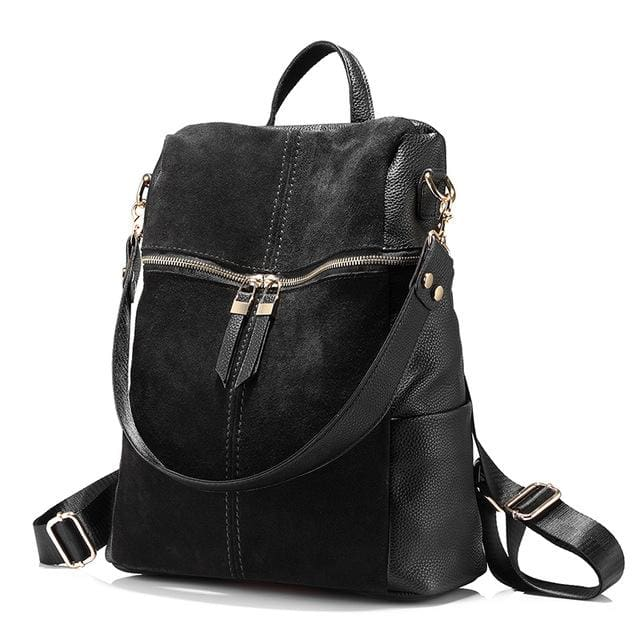 Vintage women backpack nubuck leather+PU school backpacks for teenage girls casual large capacity shoulder bags 2018 - Black / China / 15