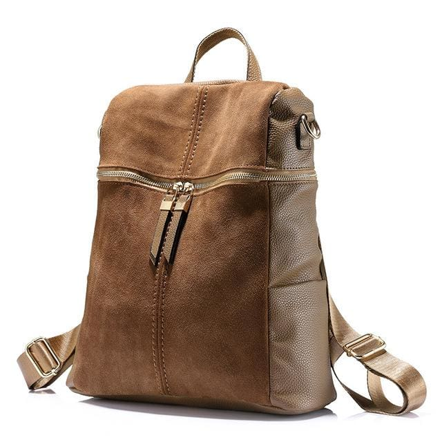 Vintage women backpack nubuck leather+PU school backpacks for teenage girls casual large capacity shoulder bags 2018 - Khaki / China / 15