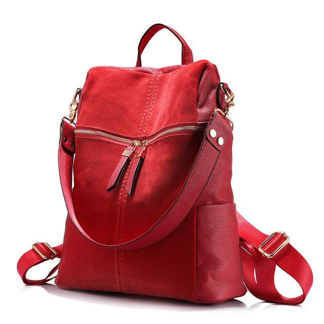 Vintage women backpack nubuck leather+PU school backpacks for teenage girls casual large capacity shoulder bags 2018 - Red / China / 15