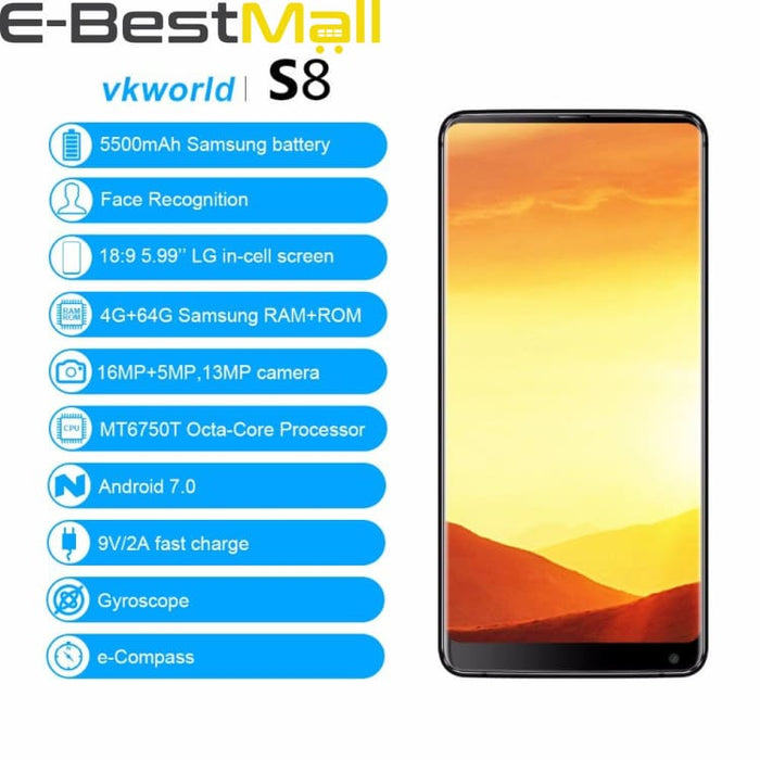 VKworld S8 4GB+64GB 4G Mobile Phone Dual Back Camera Face ID Smartphone 5500mAh 5.99 Android 7.0 MTK6750T Octa Core Cell Phone - Smartphone