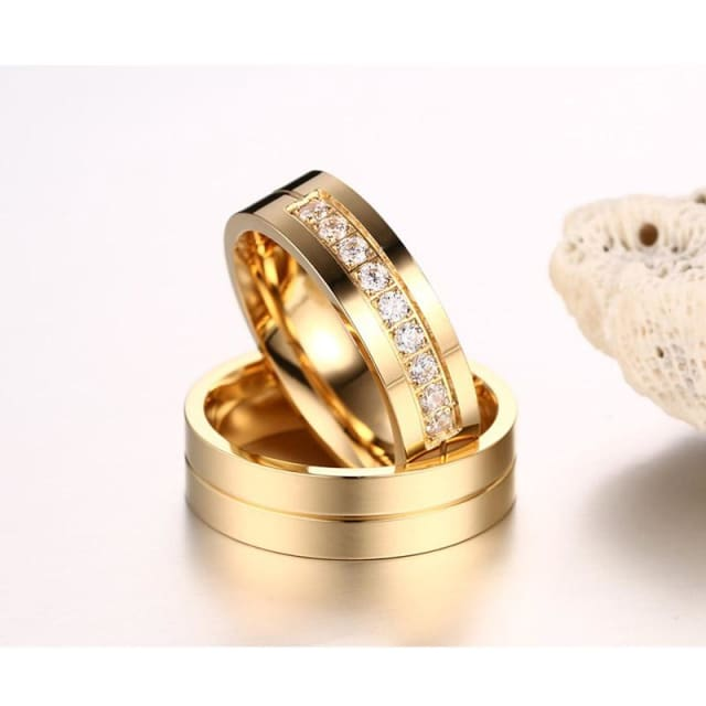 Vnox Class Wedding Bands Rings for Women / Men Love Gold-color - Ring