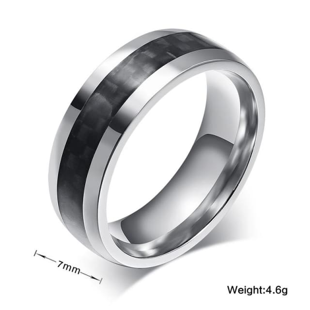 Vnox fashion men ring carbon fiber jewelry stainless steel rings for man classic christmas gifts - Ring