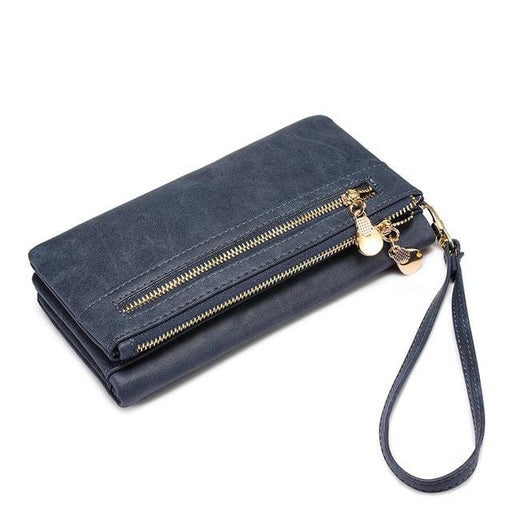 Wallet female long purse with wrist strap double zipper multifunctional wallet coin pocket card holder 4 colors - Blue / China - Wallets