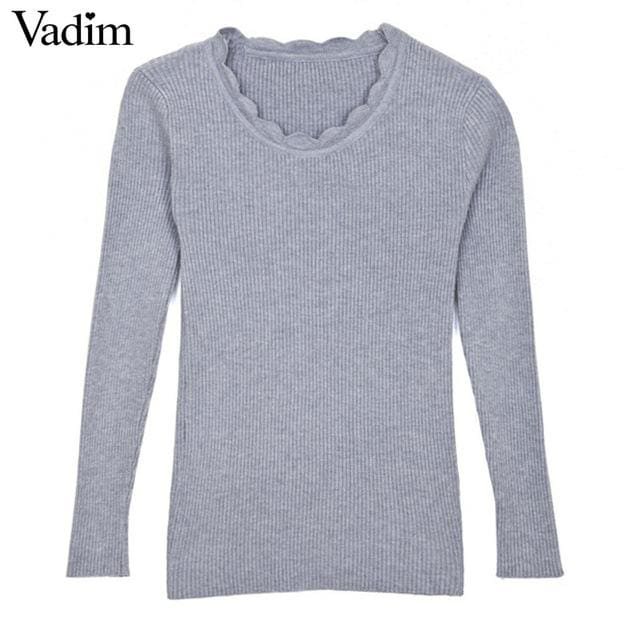 Warm Pullover For Women - Gray / One Size - Pullovers