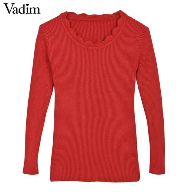 Warm Pullover For Women - Red / One Size - Pullovers