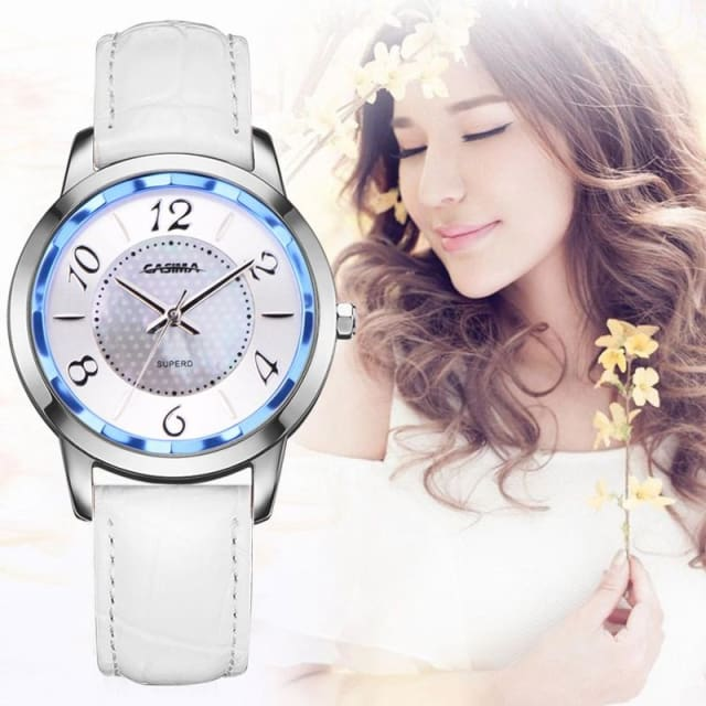 Watch stainless steel with leather strap quartz - Fashion