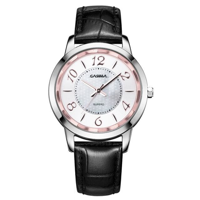 Watch stainless steel with leather strap quartz - Black - Fashion