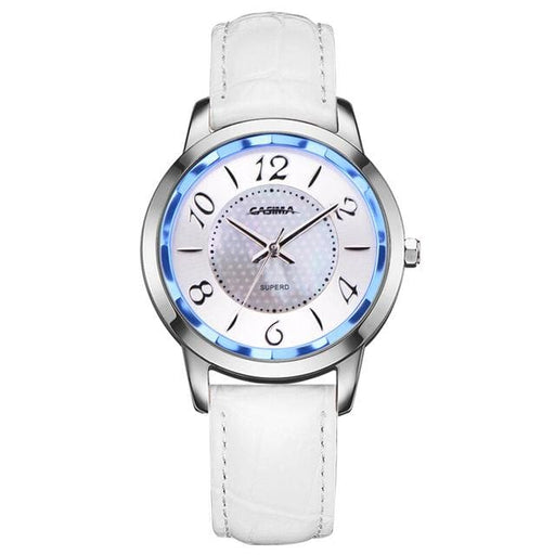 Watch stainless steel with leather strap quartz - White - Fashion