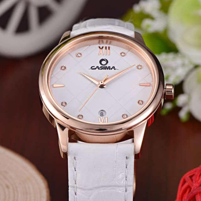 Watche for women fashion simple Crystal casual charm womens quartz wrist watch leather waterproof 50m - Luxury watche