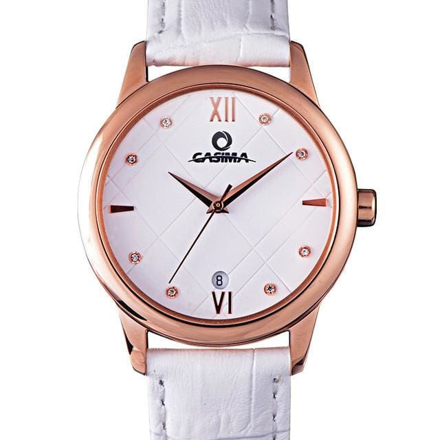 Watche for women fashion simple Crystal casual charm womens quartz wrist watch leather waterproof 50m - White - Luxury watche