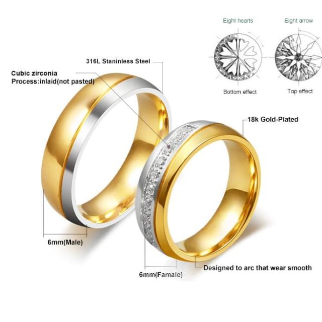 Wedding Ring for Women / Men Gold Color Engagement ring for Couple 2018 - Ring