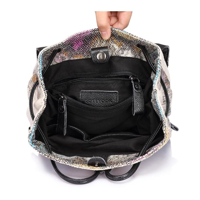 Women backpack serpentine prints drawstring backpack female high quality artificial leather shoulder school bags - Softback