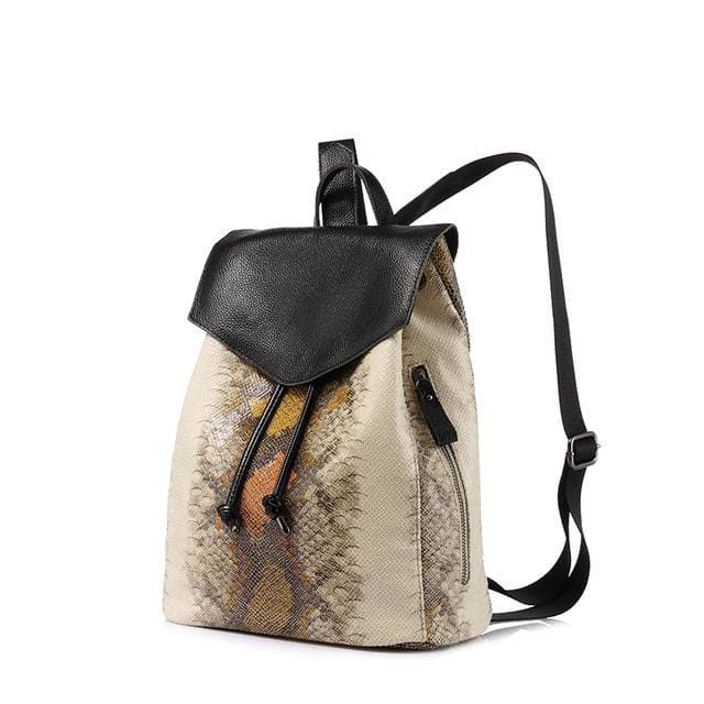 Women backpack serpentine prints drawstring backpack female high quality artificial leather shoulder school bags - YellowBrown / China / 17
