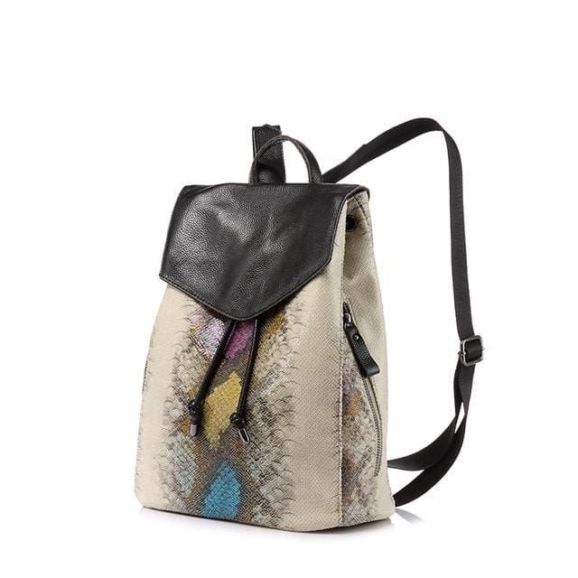 Women backpack serpentine prints drawstring backpack female high quality artificial leather shoulder school bags - YellowGreen / China / 17