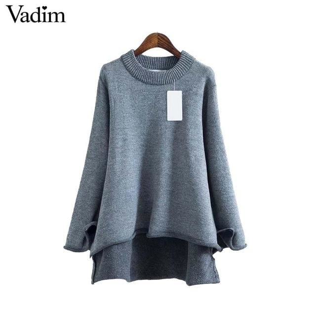 Women basic sweater long sleeve asymmetrical - Gray / L - Pullovers