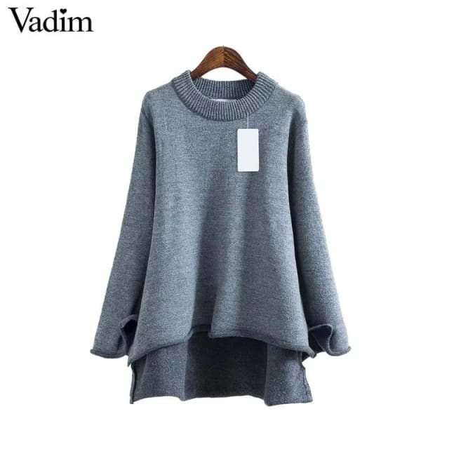 Women basic sweater long sleeve asymmetrical - Pullovers