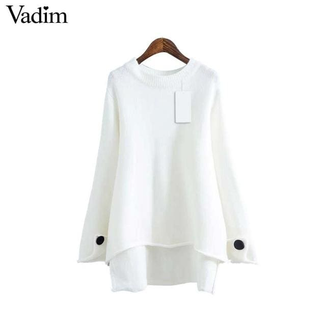 Women basic sweater long sleeve asymmetrical - White / L - Pullovers