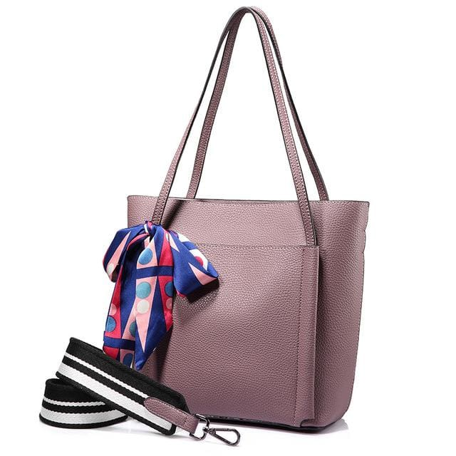 Women handbag 2018 shoulder bags female messenger bag large capacity ladies casual tote bags high quality with bows Black - Light Purple /
