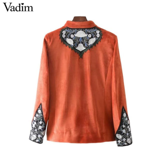 Women jacket retro velour floral embroidery - Basic Jacket