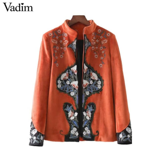 Women jacket retro velour floral embroidery - as picture / L - Basic Jacket