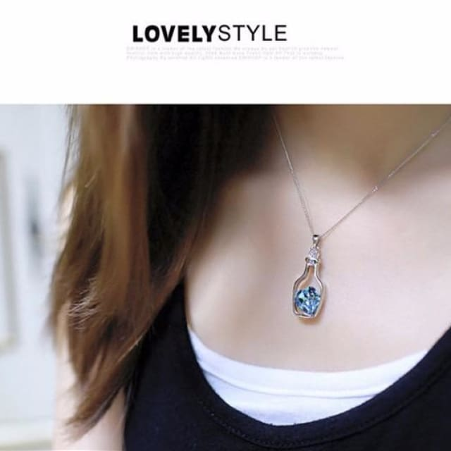 Women Necklace With Bottles Blue and Heart Crystal Pendant Necklace - Necklace