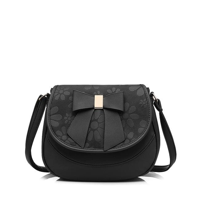 Women shoulder bag 2018 female saddle bag with a bow PU fashion ladies messenger bag NEW spring crossbody bags - Black / China / (20cm<Max