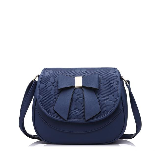 Women shoulder bag 2018 female saddle bag with a bow PU fashion ladies messenger bag NEW spring crossbody bags - Blue / China / (20cm<Max