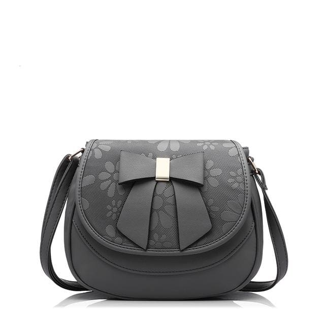 Women shoulder bag 2018 female saddle bag with a bow PU fashion ladies messenger bag NEW spring crossbody bags - Gray / China / (20cm<Max