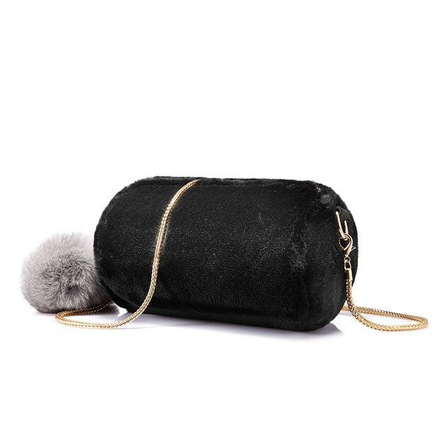 Women Shoulder Bag Rabbit fur Fashion with removable fox ball - Black / China / Mini(Max Length<20cm) - Crossbody Bags