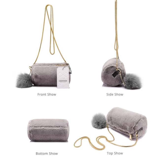 Women Shoulder Bag Rabbit fur Fashion with removable fox ball - Crossbody Bags