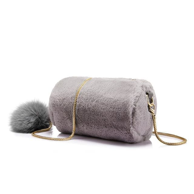 Women Shoulder Bag Rabbit fur Fashion with removable fox ball - Gray / China / Mini(Max Length<20cm) - Crossbody Bags