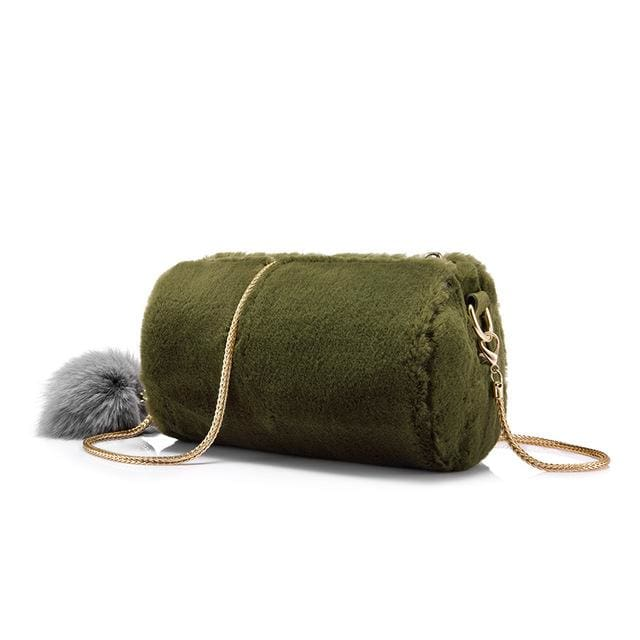 Women Shoulder Bag Rabbit fur Fashion with removable fox ball - Green / China / Mini(Max Length<20cm) - Crossbody Bags