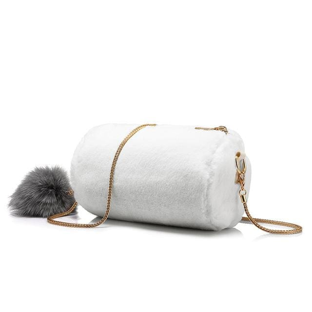 Women Shoulder Bag Rabbit fur Fashion with removable fox ball - White / China / Mini(Max Length<20cm) - Crossbody Bags