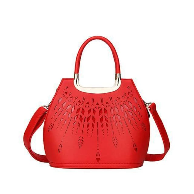 Women small handbag hollow out design saffiano tote bag high quality ladies shoulder messenger bags black - Red / China / (20cm<Max