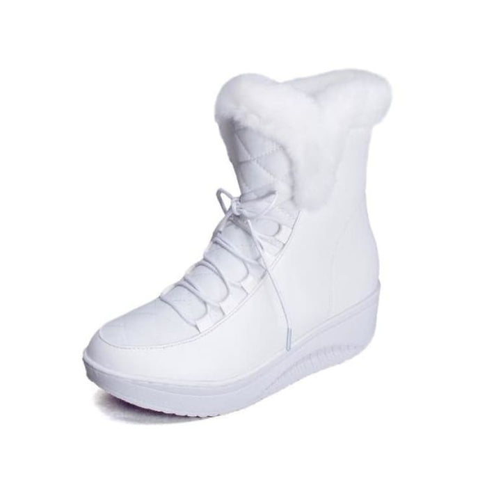 Women Snow Boots with faux Fur - White / 4 - Snow Boots
