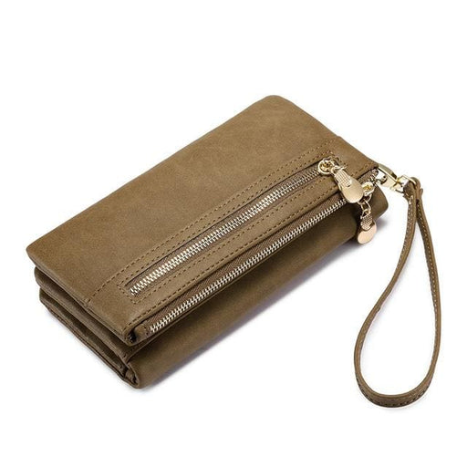Women wallet female long purse card holder multi card slots with wrist strap coin pocket ladies clutch high quality PU - Brown / China -