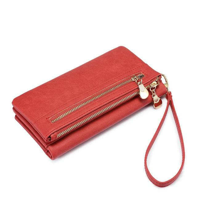Women wallet female long purse card holder multi card slots with wrist strap coin pocket ladies clutch high quality PU - Coral / China -