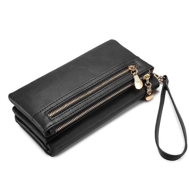 Women wallet female long purse card holder multi card slots with wrist strap coin pocket ladies clutch high quality PU - Dark Grey / China -