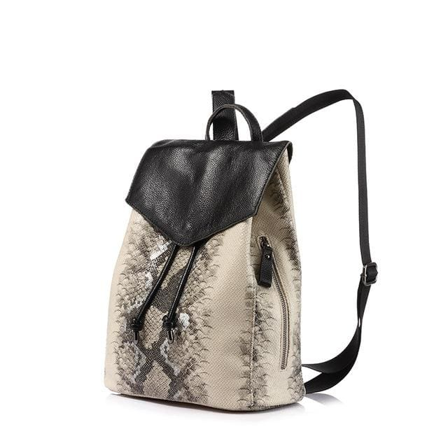 Womens backpack serpentine prints drawstring - Gray / China / 17 Inches - Backpacks