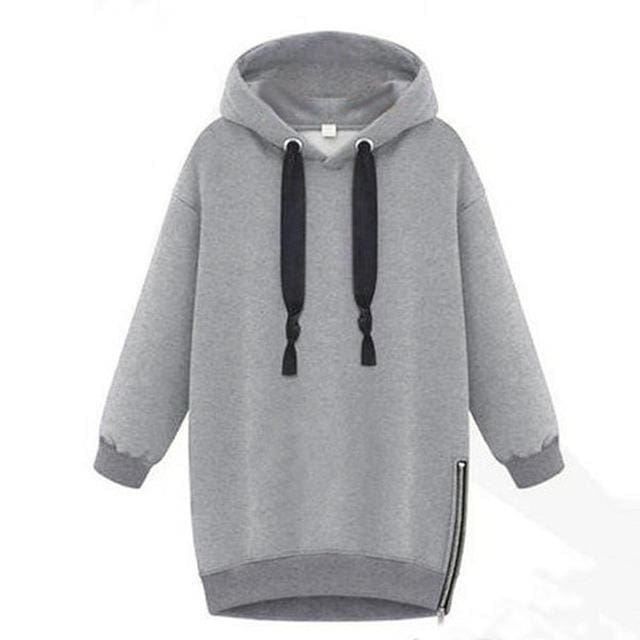 Womens Long Sleeve Hooded - Gray / S