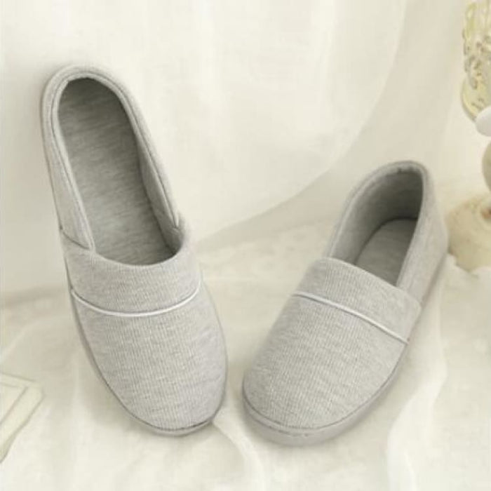 Womens Slippers With Soft Outsole - Cotton-Padded - Gray / 4 - Slippers