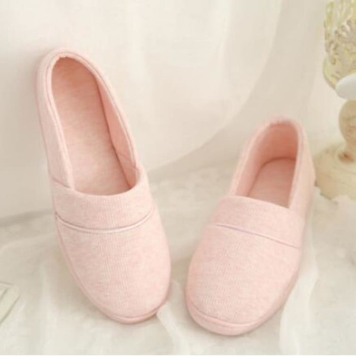 Womens Slippers With Soft Outsole - Cotton-Padded - Pink / 4 - Slippers