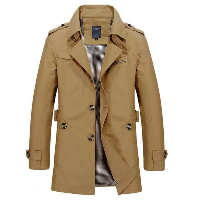 ZRS Mens Coat Long 2018 - Khaki Black Blue Army Green - Coat