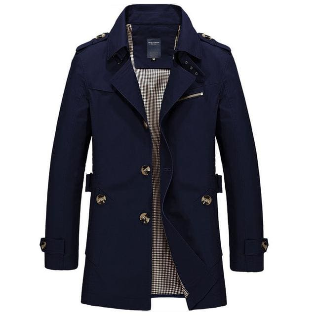 ZRS Mens Coat Long 2018 - Khaki Black Blue Army Green - Dark blue / M - Coat
