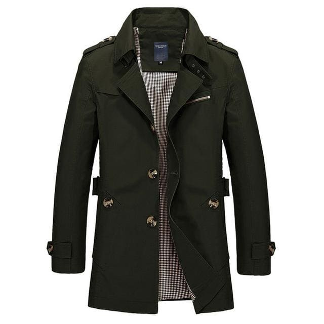 ZRS Mens Coat Long 2018 - Khaki Black Blue Army Green - Army green / M - Coat